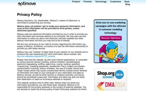 Screenshot of Privacy Page optimove.com - Privacy Policy | Optimove - captured Sept. 18, 2014