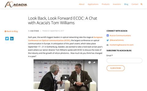 Look Back, Look Forward ECOC: A Chat with Acacia's Tom Williams - Acacia Communications, Inc.