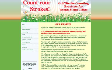 Screenshot of Services Page countyourstrokes.com - golf stroke counting bracelets, Count Your Strokes! Palatine, IL Services - captured Sept. 30, 2014