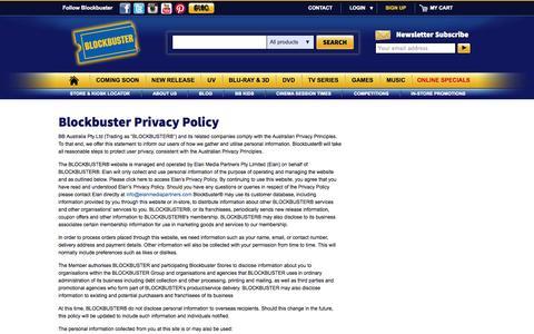 Screenshot of Privacy Page blockbuster.com.au - Blockbuster - captured Sept. 22, 2014