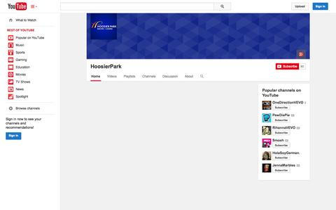 Screenshot of YouTube Page youtube.com - HoosierPark  - YouTube - captured Oct. 22, 2014