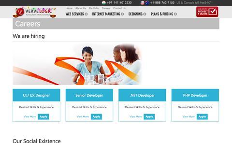 Screenshot of Jobs Page vervelogic.com - Career   VerveLogic - captured Oct. 26, 2014