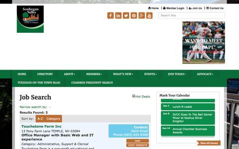 Screenshot of Jobs Page souhegan.net - Job Search - Souhegan Valley Chamber of Commerce,NH - captured April 25, 2017
