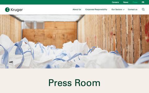 Screenshot of Press Page kruger.com - Pressroom - Kruger Inc. - captured Oct. 16, 2018