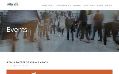 Screenshot of Press Page atlantiafoodclinicaltrials.com - Events   Atlantia Food Clinical Trials - captured Oct. 4, 2018