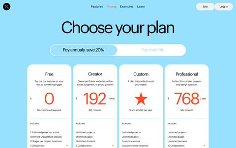 Screenshot of Pricing Page readymag.com - Pricing - captured Dec. 13, 2019