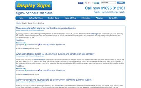 Screenshot of Press Page displaysigns.net - Display Signs - News & Offers - captured Oct. 27, 2014