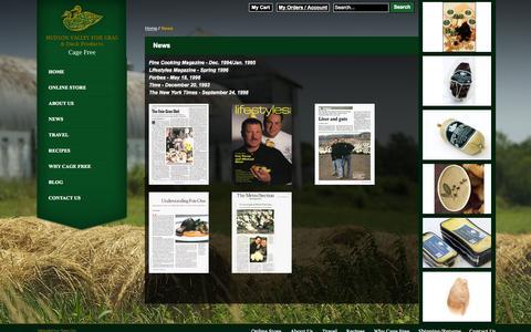 Screenshot of Press Page hudsonvalleyfoiegras.com - News - captured Sept. 30, 2014