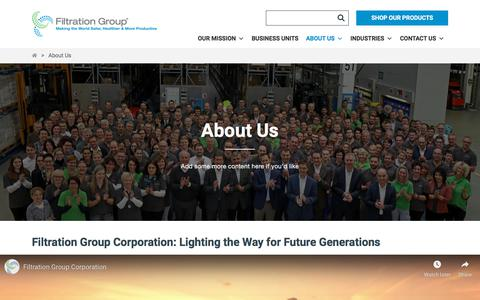 Screenshot of About Page filtrationgroup.com - About Us - Filtration Group - captured Sept. 22, 2019