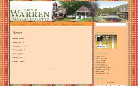 Screenshot of Hours Page warrenpubliclibrary.org - Hours | - captured March 12, 2016