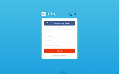 Screenshot of Signup Page bellycard.com - Register | Belly - Full of Rewards - captured Jan. 15, 2016