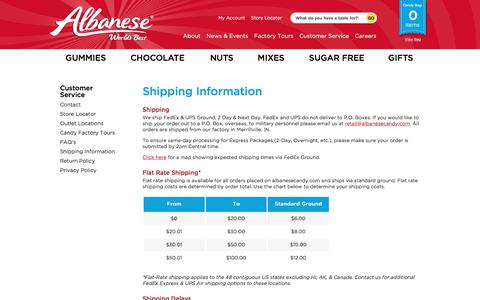 Screenshot of Privacy Page Support Page albanesecandy.com - Policies   Shipping   Return   Privacy   Albanese Candy - captured Oct. 7, 2017