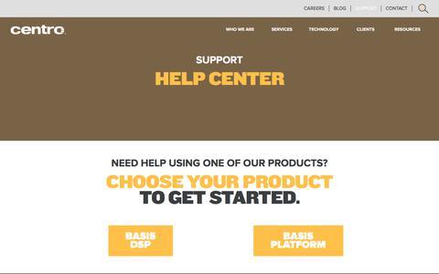 Screenshot of Support Page centro.net - Help Center | Centro - captured Jan. 28, 2018