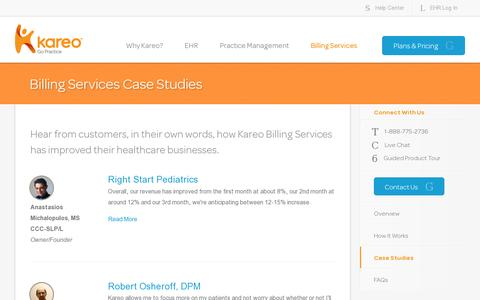 Screenshot of Case Studies Page kareo.com - Kareo Billing Service Case Studies - Billing Services – Improve revenue and efficiency, and reduce hassles - captured July 20, 2014