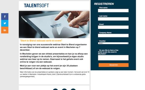 Screenshot of Landing Page talentsoft.com - Start to Blend event - captured April 13, 2018