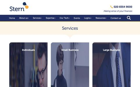 Screenshot of Services Page stern.co.uk - Accountancy Services in West London : Accountancy Services in Ealing : Stern & Company - captured Feb. 15, 2016