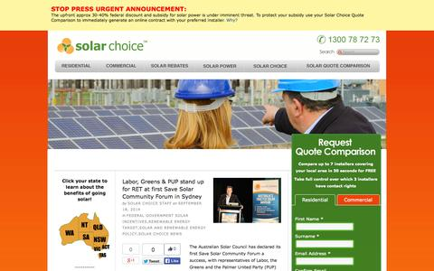 Screenshot of Blog solarchoice.net.au - Solar Choice Solar PV Energy System Installation Brokers — - captured Sept. 19, 2014