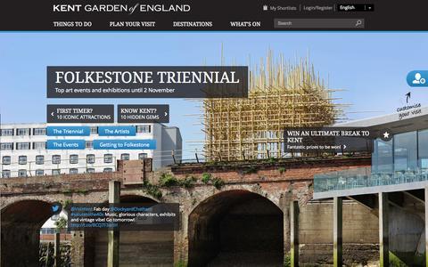 Screenshot of Home Page visitkent.co.uk - Visit Kent | Official Website For Visit Kent - The Garden of England - captured Sept. 23, 2014