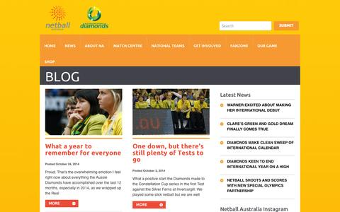 Screenshot of Blog netball.com.au - Blog Archives - Netball AustraliaNetball Australia - captured Oct. 26, 2014
