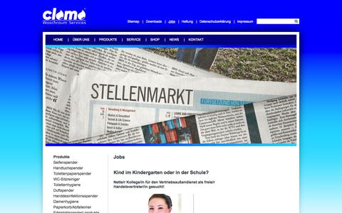 Screenshot of Jobs Page clomo.de - clomo Waschraum Services | Kompetente Waschraumlösungen | Jobs - captured Oct. 3, 2014