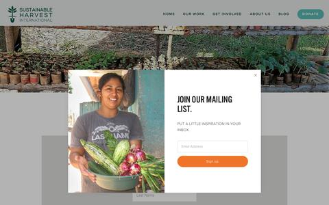 Screenshot of Signup Page sustainableharvest.org - Mailing List — SHI - Sustainable Agriculture + Organic Farming for Poverty Alleviation - captured Oct. 25, 2017