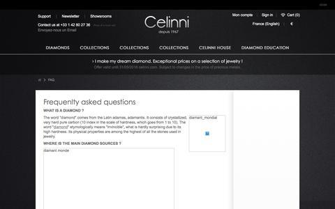 Screenshot of FAQ Page celinni.com - FAQ - Celinni Steinberg International - captured July 11, 2016