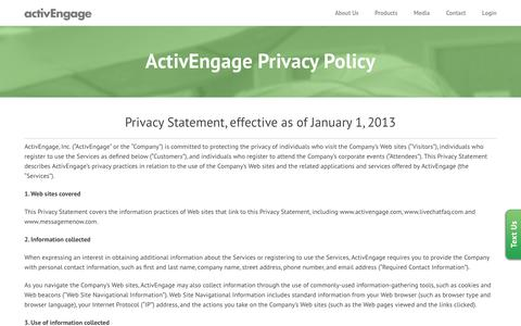 Screenshot of Privacy Page activengage.com - ActivEngage Privacy Policy - ActivEngage - captured Aug. 26, 2016