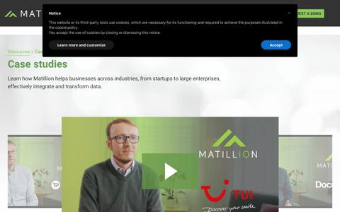 Screenshot of Case Studies Page matillion.com - (2) New Messages! - captured Dec. 1, 2019