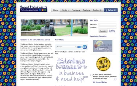 Screenshot of Home Page edmundbartoncentre.com.au - Edmund Barton Centre | for business excellence - captured Sept. 27, 2018