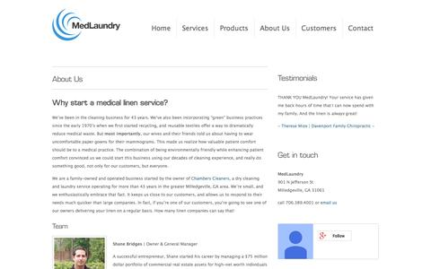 Screenshot of About Page medlaundry.com - Why start a medical linen service? | About Us | - captured Oct. 27, 2014