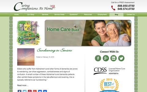 Screenshot of Blog caringcompanionsathome.com - Home Care Buzz | Caring Companions at Home - captured Oct. 24, 2016