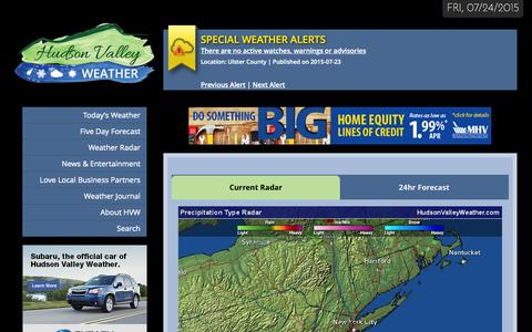 Screenshot of Home Page hudsonvalleyweather.com - Hudson Valley Weather - The Most Accurate Weather Source in the Valley - captured July 25, 2015