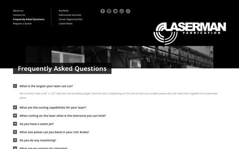 Screenshot of FAQ Page lasermanfab.com - LaserMan Fabrication » Frequently Asked Questions - captured Oct. 1, 2014