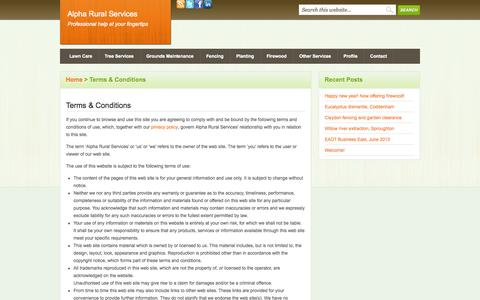 Screenshot of Terms Page alpharuralservices.co.uk - Terms & Conditions - Alpha Rural Services - captured Sept. 30, 2014