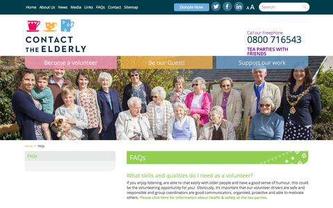 Screenshot of FAQ Page contact-the-elderly.org.uk - Contact the Elderly - captured July 21, 2018