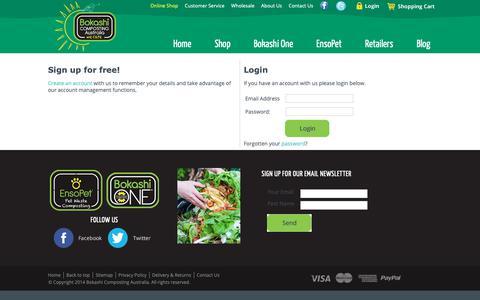 Screenshot of Login Page bokashi.com.au - Bokashi Composting Australia -- Login - captured Oct. 6, 2018
