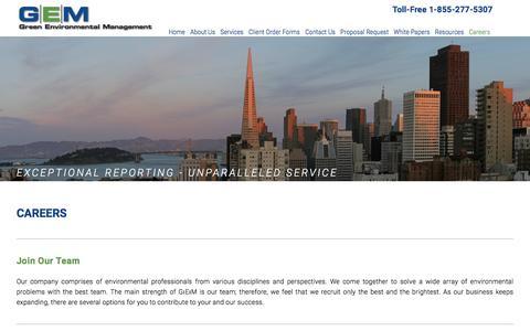 Screenshot of Jobs Page green-em.com - Careers — Green Environmental Management - captured Nov. 15, 2016