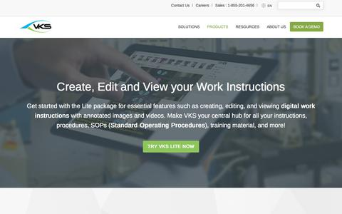 Screenshot of Products Page vksapp.com - Create, Edit and View your Work Instructions | VKS Lite - captured Aug. 10, 2018