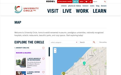 Screenshot of Maps & Directions Page universitycircle.org - Explore University Circle - captured Oct. 20, 2018