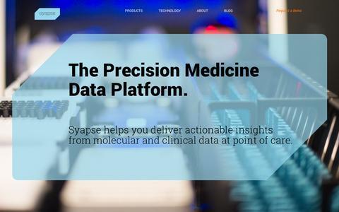 Screenshot of Home Page syapse.com - Home | Syapse - captured Sept. 17, 2014