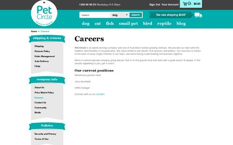 Screenshot of Jobs Page petcircle.com.au - Careers | Pet Circle - captured July 19, 2014