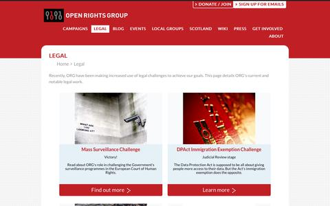 Screenshot of Terms Page openrightsgroup.org - Open Rights Group  - Legal - captured Sept. 21, 2018