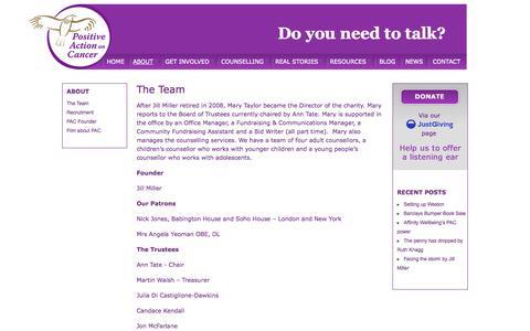 Screenshot of Team Page positiveactiononcancer.co.uk - Positive Action on Cancer  |  The Team - captured Sept. 30, 2014