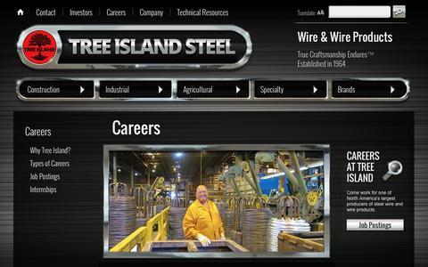 Screenshot of Jobs Page treeisland.com - Careers | Tree Island Steel - captured Oct. 8, 2014