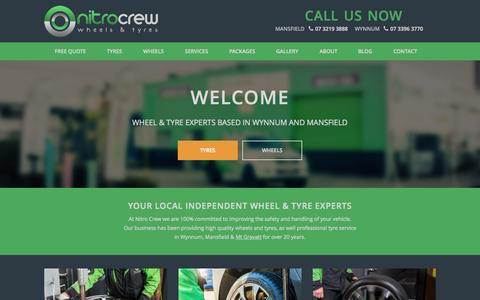 Screenshot of Home Page nitrocrew.com.au - Tyres & Wheels in Mt Gravatt, Wynnum and Mansfield - captured Sept. 4, 2015