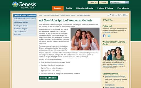 Screenshot of Signup Page genesishcs.org - Join Spirit of Women - Genesis HealthCare System - Zanesville, Ohio - captured Jan. 27, 2016