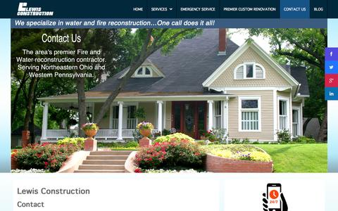 Screenshot of Contact Page lewisconstruction.com - Contact Us - captured Sept. 30, 2014