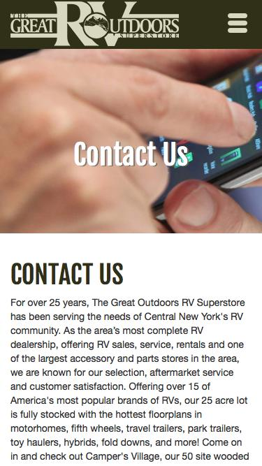Screenshot of Contact Page Hours Page  greatoutdoorsrv.com - Contact The Great Outdoors RV