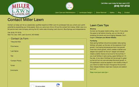 Screenshot of Contact Page millerlawn.com - Contact Miller Lawn | Kansas City Lawn Care Expert - captured Oct. 19, 2017