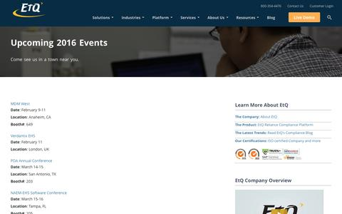 QMS Industry Upcoming Events – 2016 by EtQ
